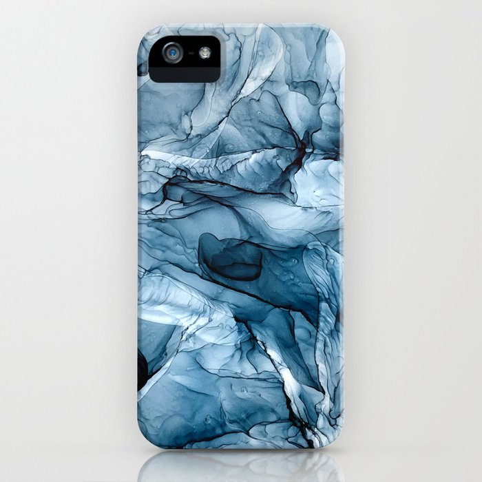 Churning Blue Ocean Waves Abstract Painting iPhone Case