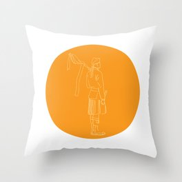 Scotsman Soldier Bagpiper Circle Drawing Throw Pillow