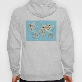 Cartoon animal world map for children and kids, Animals from all over the world Hoody