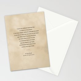 Pablo Neruda Quote 01 - Typewriter Quote On Old Paper - Literary Poster - Book Lover Gifts Stationery Cards
