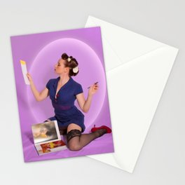 """Planning"" - The Playful Pinup - Polka Dot Dress Pinup Girl by Maxwell H. Johnson Stationery Cards"