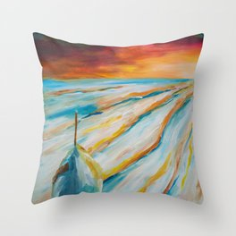 Snowy field - painting series Throw Pillow