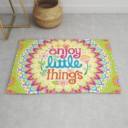 Enjoy the little things - Hand-lettered mandala art by Thaneeya McArdle Rug