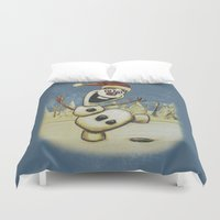 olaf Duvet Covers featuring Olaf Christmas Frozen by WimpyGeek Art