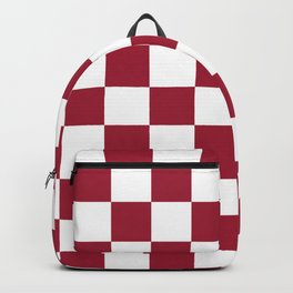 Crimson Red Checkered Pattern Backpack