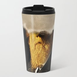 The inability of men with golden faces to be photographed without cloud. Travel Mug