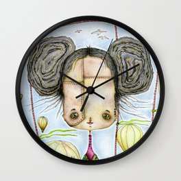Steampunk Girl among air balloons Wall Clock
