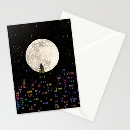 The Flower of Life Moon Stationery Cards