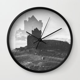 Ross Castle in Ireland - Black and White Double Exposure Wall Clock