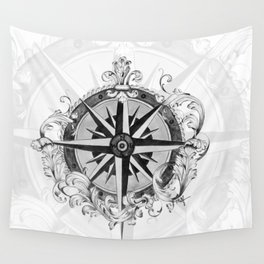 Black and White Scrolling Compass Rose Wall Tapestry