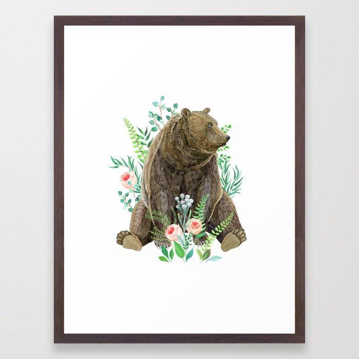 bear sitting in the forest Framed Art Print