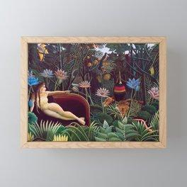 The Dream by Henri Rousseau 1910 // Jungle Lion Flowers Native Female Laying Colorful Landscape Framed Mini Art Print