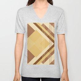 Modern Geometric Diamonds and Stripes in Golden Yellow Honey Brown Unisex V-Neck