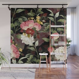 Floral Flower Pattern Watercolor White Pink Flowers Black Background Wall Mural