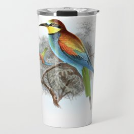 Vintage print,colorful poster of European Bee-Eater Travel Mug