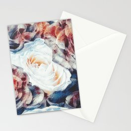 Roses print in retro drawing style watercolor digital Stationery Cards