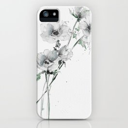 Loose white Anemones in watercolor and pencil iPhone Case