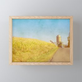 Golden Yellow Cornfield and Barn with Blue Sky Framed Mini Art Print