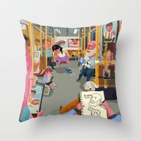 budapest Throw Pillows featuring Budapest underground by Zsolt Vidak