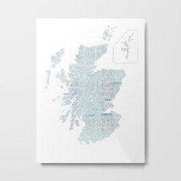Scotland Typography Map Metal Print