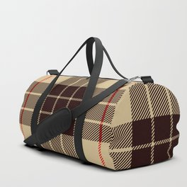 Tan Tartan with Black and Red Stripes Duffle Bag