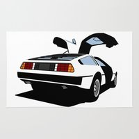 delorean Area & Throw Rugs featuring Delorean - Ghost Image 2 by Geoff Ombao Car Art