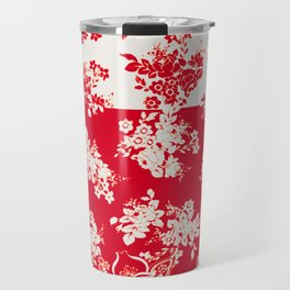 small bouquets in bright red with border Travel Mug