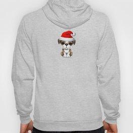 Christmas Bulldog Puppy Wearing a Santa Hat Hoody