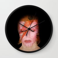 bowie Wall Clocks featuring bowie by Taranta Babu