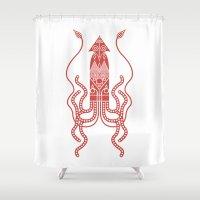 squid Shower Curtains featuring Squid by Hinterlund