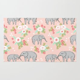 Elephants pattern blush pink pastel with florals cute nursery baby animals lucky gifts Rug