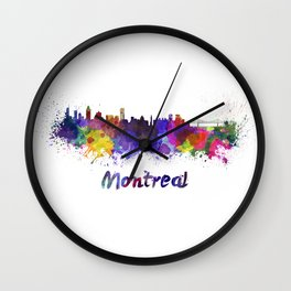 Montreal skyline in watercolor Wall Clock