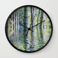 sia Wall Clocks featuring SERENE GREEN SCENE by Catspaws