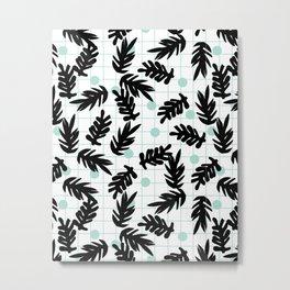 Dotty - black and mint modern pattern grid modern pattern print design urban brooklyn  Metal Print