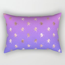 Pink Purple Blue Gradient With Rose Gold Unicorn Pattern Rectangular Pillow