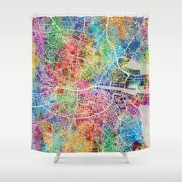 Dublin Ireland City Map Shower Curtain