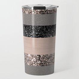 Blush Glitter Glam Stripes #1 #shiny #decor #art #society6 Travel Mug