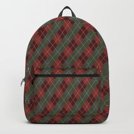 Red Green Plaid Gingham Christmas Holiday Backpack