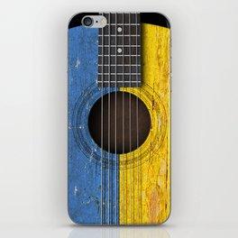 Old Vintage Acoustic Guitar with Ukrainian Flag iPhone Skin