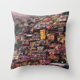 Stacked Hillside Colorful Houses of Shimla, India Landscape by Jeanpaul Ferro Throw Pillow