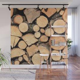 Wooden Logs Wall Mural