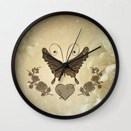 Beautiful elegant butterflies with heart Wall Clock