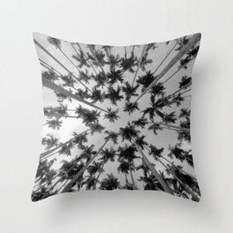 Above Palm Trees (Black and White) Throw Pillow
