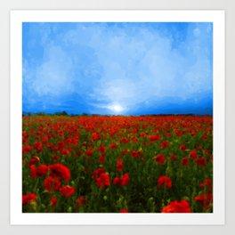 Poppy Field Sunset Art Print