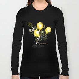 Citrus paradise. Tropical pattern with lemons Long Sleeve T-shirt