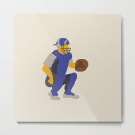 Baseball Player in Blue Catching, Flat Graphic Metal Print