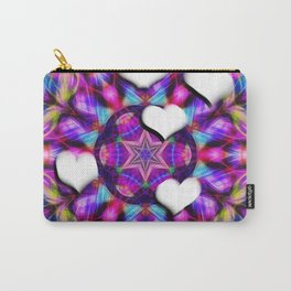Floating hearts on abstract vibrant kaleidoscope Carry-All Pouch