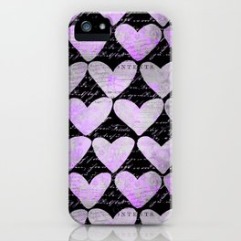 Pink Purple Heart Typography Pattern iPhone Case