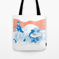 freud Tote Bags featuring Freud and Halsted by Dustin Davis