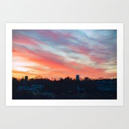 Winter sunset in Rockport Art Print